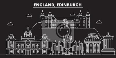 Sticker Skyline de silhouette d'Edimbourg. Grande-Bretagne - Ville de vecteur d'Edimbourg, architecture linéaire britannique, bâtiments. Illustration de voyage ligne Edimbourg, monuments. Contour iconbritish