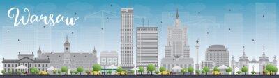 Sticker Skyline de Varsovie avec des bâtiments gris et ciel bleu. Certains éléments ont un mode de transparence différent de la normale