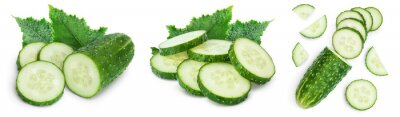 Sticker Sliced cucumber isolated on white background. Set or collection