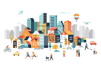 Sticker Smart city, landscape city centre with many building, airplane is flying in the sky and people walking, running in park.