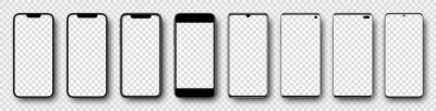 Sticker Smartphone mockup collection. Mockup realistic models smartphone with shadow and blank screens for your design. Isolated on transparent background. Vector illustration .ai .eps