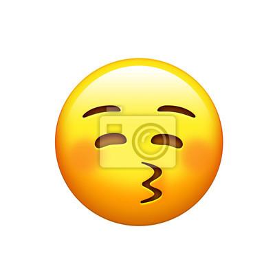 e802295e00047c Sticker Smiley jaune isolé visage de la joue rouge avec embrasser l icône  de la