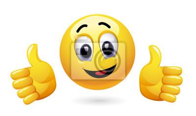 Smiley Montre Le Pouce Vers Le Haut Emoticon Shabille Avec Autocollants Murales Accords Gesticuler Thumb Up Myloview Fr