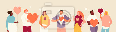 Sticker Smiling people group holding hearts. Valentine s Day. Love and volunteering vector illustration