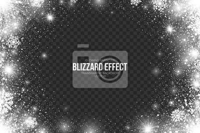 Sticker Snow Blizzard Effet sur fond transparent illustration vectorielle. Résumé, blanc, brillant, brillant, scatter, chute, rond, particules, lumières, flocons neige