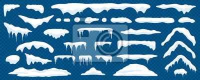 Sticker Snow caps, snowy ice and frozen icicles, vector cartoon icons, isolated on transparent background. Abstract snow frost caps and icicles of house roof shape for Christmas and New Year elements design