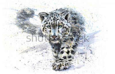 Sticker Snow leopard animals watercolor predator wildlife