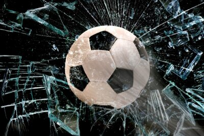Sticker Soccer ball à travers le verre.