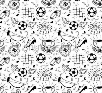 Sticker Soccer vector background. Vector illustration of seamless football wallpaper pattern for your design