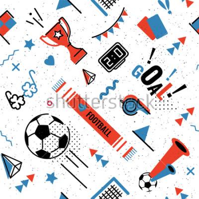 Sticker Soccer/football abstract background in 80s memphis style. Seamless memphis pattern for posers and cards. Vector illustration