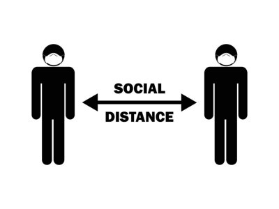 Sticker Social Distance Man with Mask. Pictogram depicting social distancing rules. EPS Vector