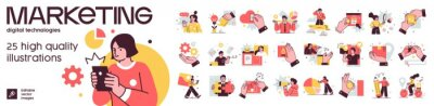 Sticker Social Media Marketing illustrations. Mega set. Collection of scenes with men and women taking part in business activities. Trendy vector style