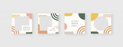 Sticker Social media template. Trendy editable social media post template. Mockup isolated. Template design. Vector illustration.
