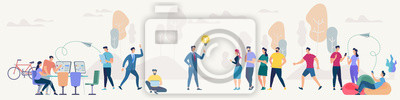 Sticker Social Network and Teamwork Vector Concept.