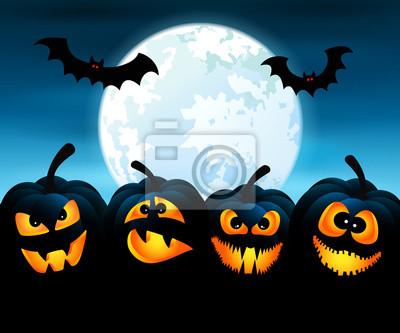 Soir de l'Halloween avec citrouilles