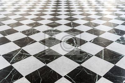 Sticker Sol en marbre à carreaux noir et blanc