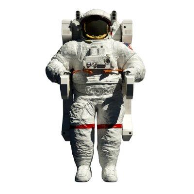Sticker sorties dans l'espace l'astronaute - 3d illustration vue de face sur fond blanc