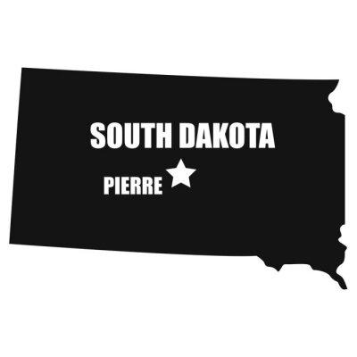 South Dakota map in black on a white background