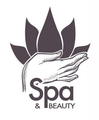 Sticker Spa et beauté, procédures cosmétiques, aromathérapie en vecteur de salon.