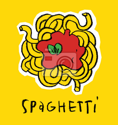 Spaghetti stylisé sur fond jaune