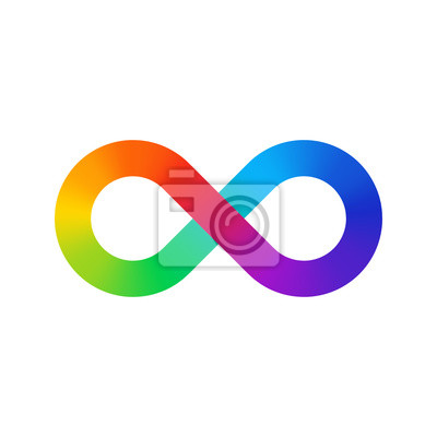 Spectre de couleur de signe d'infini. Gradient arc-en-ciel sous la forme du signe de l'infini. Huit signe dégradé coloré.