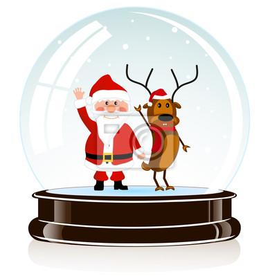 sphère avec le Père Noël et un cerf