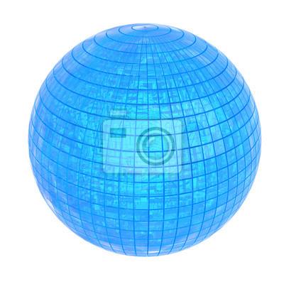 Sphère bleu brillant, 3D