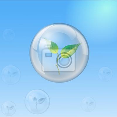 sphère de verre avec la pousse, l'écologie