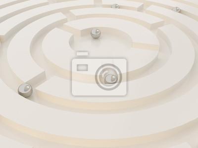 sphères de métal dans un labyrinthe abstrait