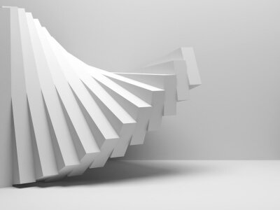 Spiral installation of boxes in an empty room, 3d