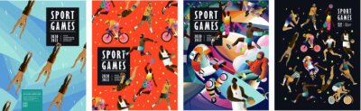 Sticker Sport games! Vector illustrations of athletes, swimmers, hockey player, jumper, runner, volleyball, basketball player, soccer player, cyclist, tennis player for poster, banner or cover design.