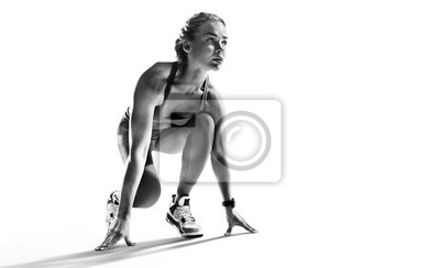 Sticker Sports background. Runner on the start. Black and white image isolated on white.