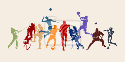 Sticker Sports, set of athletes of various sports disciplines. Isolated vector silhouettes. Run, soccer, hockey, volleyball, basketball, rugby, baseball, american football, cycling, golf