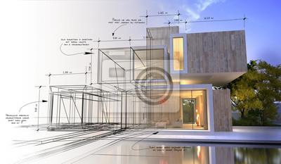 Sticker Stades de la conception d'une villa de luxe