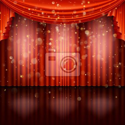 Sticker Stage avec rideau rouge. Vecteur EPS 10