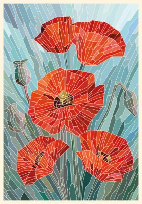 Sticker Stained Glass Flowers Poppies on a gray turquoise background. Light lines. Vector full color graphics