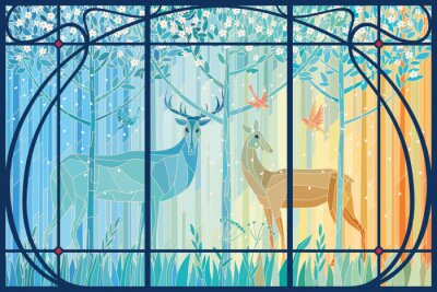 Sticker Stained glass pair of deer in the spring forest in Art Nouveau frame. Vector graphics