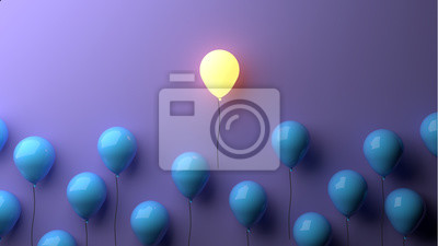 Sticker Stand out concept with glowing balloons