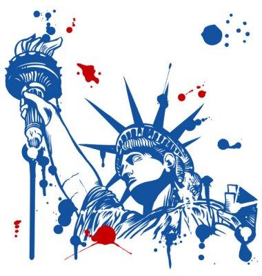 Sticker statue de la liberté avec la torche avec de l'encre gouttes