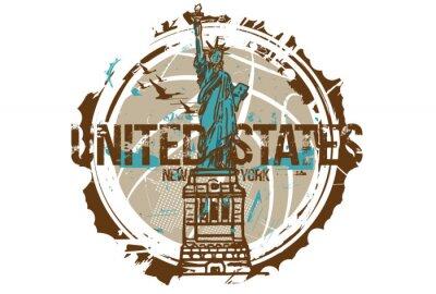 Sticker Statue de la liberté, New York / États-Unis. Conception de la ville. Illustration tirée par la main.