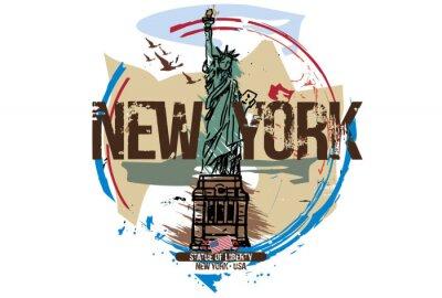Sticker Statue de la liberté, New York / USA. Conception de la ville Illustration dessinée à la main.