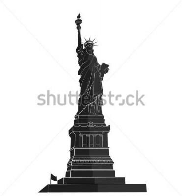 Sticker Statue de la Liberté. Point de repère de New York. Symbole américain silhouette plate