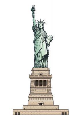 Sticker Statue de la Liberté sur son socle. Illustration vectorielle