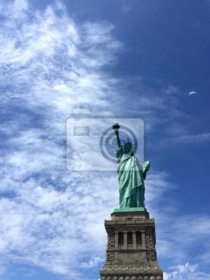 Statue, liberté, nuageux, ciel