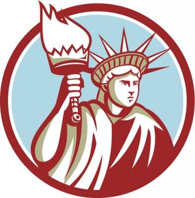 Sticker Statue, liberté, tenue, flamme, torche, Cercle, retro