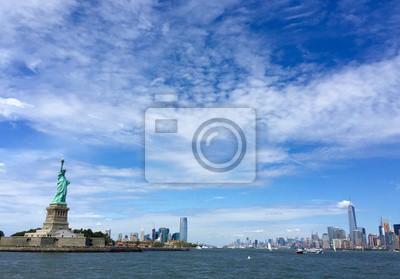 Statue, liberté, ville, bleu, ciel