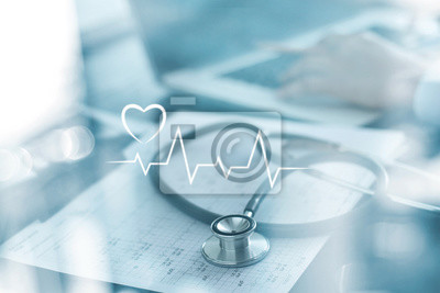 Sticker Stethoscope with heart beat report and doctor analyzing checkup on laptop in health medical laboratory background.