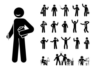 Sticker Stick figure business man standing in different poses design vector icon set. Happy, sad, surprised, amazed, angry face. Sitting, celebrating, writing stickman male person on white