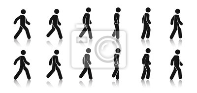 Sticker Stick figure walk. Walking animation. Posture stickman. People icons set. Man in different poses and positions. Black silhouette. Simple cute modern design. Flat style vector illustration.