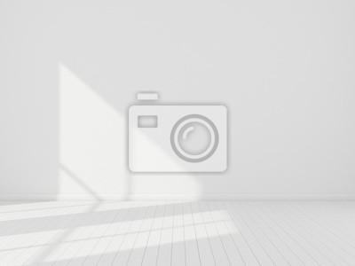 Sticker Stimulation 3D de l'intérieur de la salle blanche et du plancher de planches de bois avec la lumière du soleil, lancer le rythme de l'ombre sur le mur, Perspective de l'architecture de conception mini